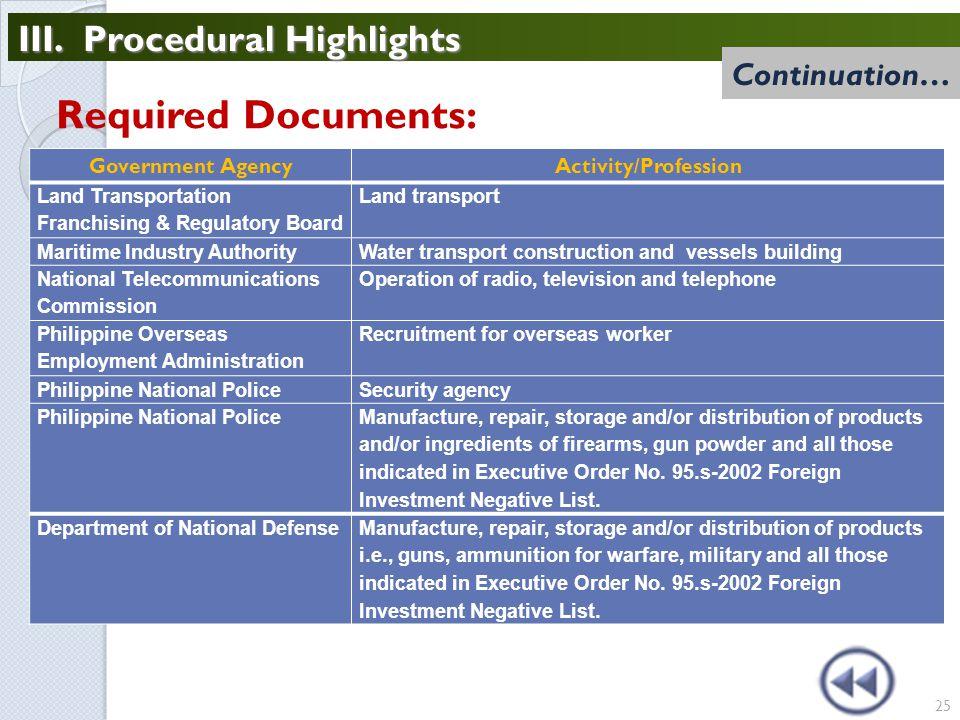 III. Procedural Highlights 25 Government AgencyActivity/Profession Land Transportation Franchising & Regulatory Board Land transport Maritime Industry