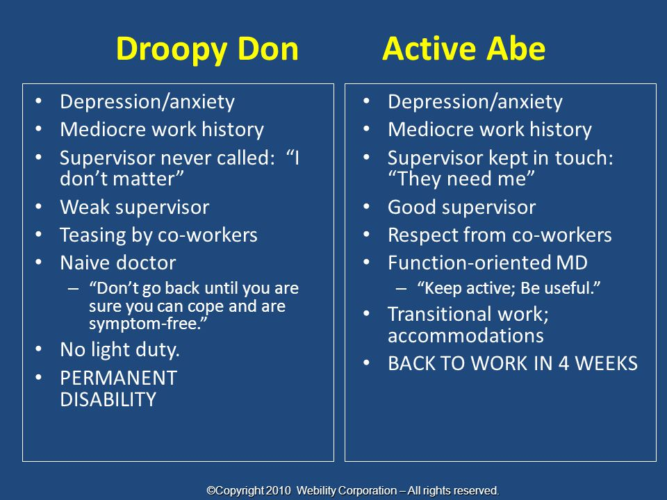 "Droopy DonActive Abe Depression/anxiety Mediocre work history Supervisor never called: ""I don't matter"" Weak supervisor Teasing by co-workers Naive do"