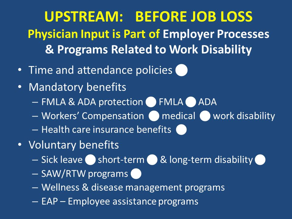 UPSTREAM: BEFORE JOB LOSS Physician Input is Part of Employer Processes & Programs Related to Work Disability Time and attendance policies Mandatory b