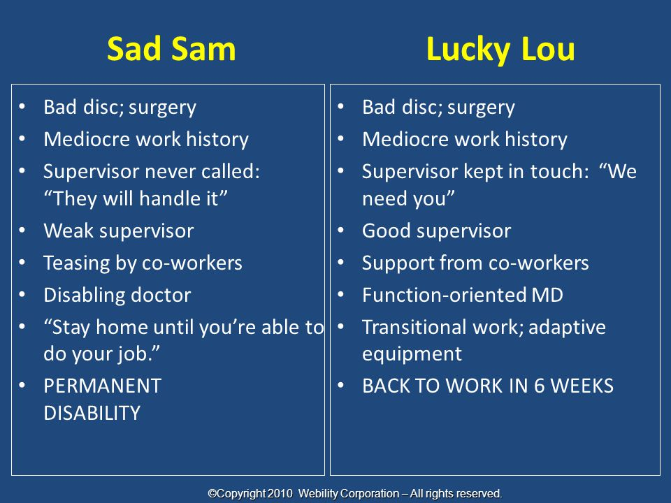 "Sad SamLucky Lou Bad disc; surgery Mediocre work history Supervisor never called: ""They will handle it"" Weak supervisor Teasing by co-workers Disablin"
