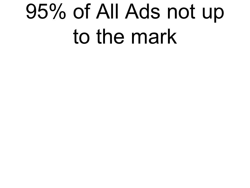 95% of All Ads not up to the mark