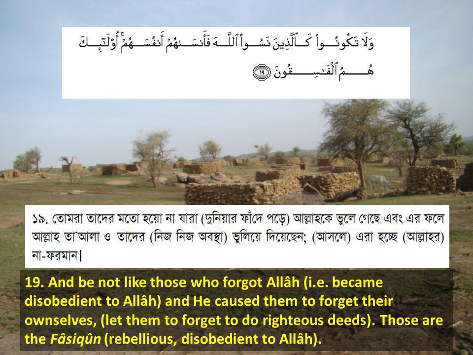 19. And be not like those who forgot Allâh (i.e.