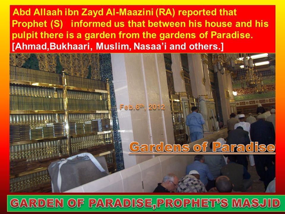 Abdullah ibn Mas'ud (buried: 650), Abdur Rahman ibn Auf, (Buried: 653), Uthman ibn Affan (buried: 656) Sa'd ibn Abu Waqaas (buried: 664) Abu Hurairah ( buried: 681), May Allah be pleased with them Feb.6 th, 2012
