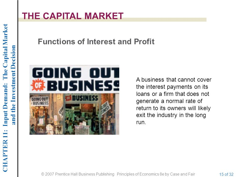 CHAPTER 11: Input Demand: The Capital Market and the Investment Decision © 2007 Prentice Hall Business Publishing Principles of Economics 8e by Case and Fair 15 of 32 THE CAPITAL MARKET Functions of Interest and Profit A business that cannot cover the interest payments on its loans or a firm that does not generate a normal rate of return to its owners will likely exit the industry in the long run.