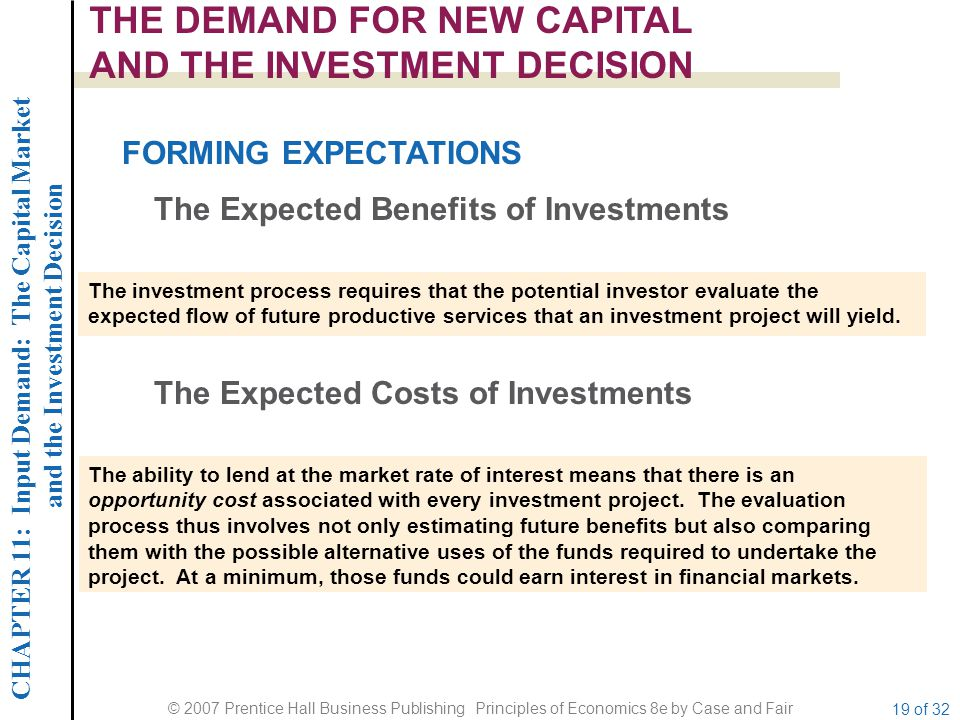 CHAPTER 11: Input Demand: The Capital Market and the Investment Decision © 2007 Prentice Hall Business Publishing Principles of Economics 8e by Case and Fair 19 of 32 THE DEMAND FOR NEW CAPITAL AND THE INVESTMENT DECISION FORMING EXPECTATIONS The Expected Benefits of Investments The investment process requires that the potential investor evaluate the expected flow of future productive services that an investment project will yield.