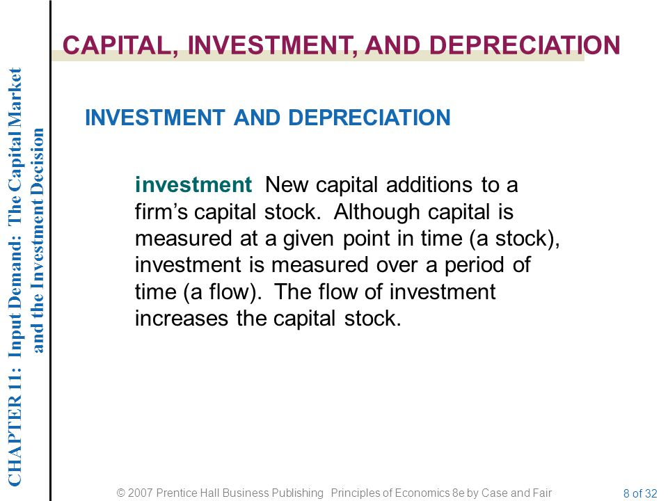 CHAPTER 11: Input Demand: The Capital Market and the Investment Decision © 2007 Prentice Hall Business Publishing Principles of Economics 8e by Case and Fair 8 of 32 CAPITAL, INVESTMENT, AND DEPRECIATION investment New capital additions to a firm's capital stock.