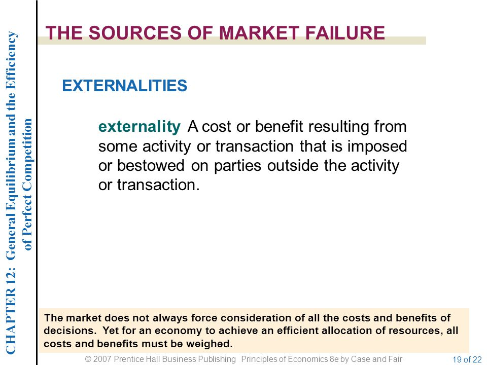 CHAPTER 12: General Equilibrium and the Efficiency of Perfect Competition © 2007 Prentice Hall Business Publishing Principles of Economics 8e by Case and Fair 19 of 22 THE SOURCES OF MARKET FAILURE The market does not always force consideration of all the costs and benefits of decisions.