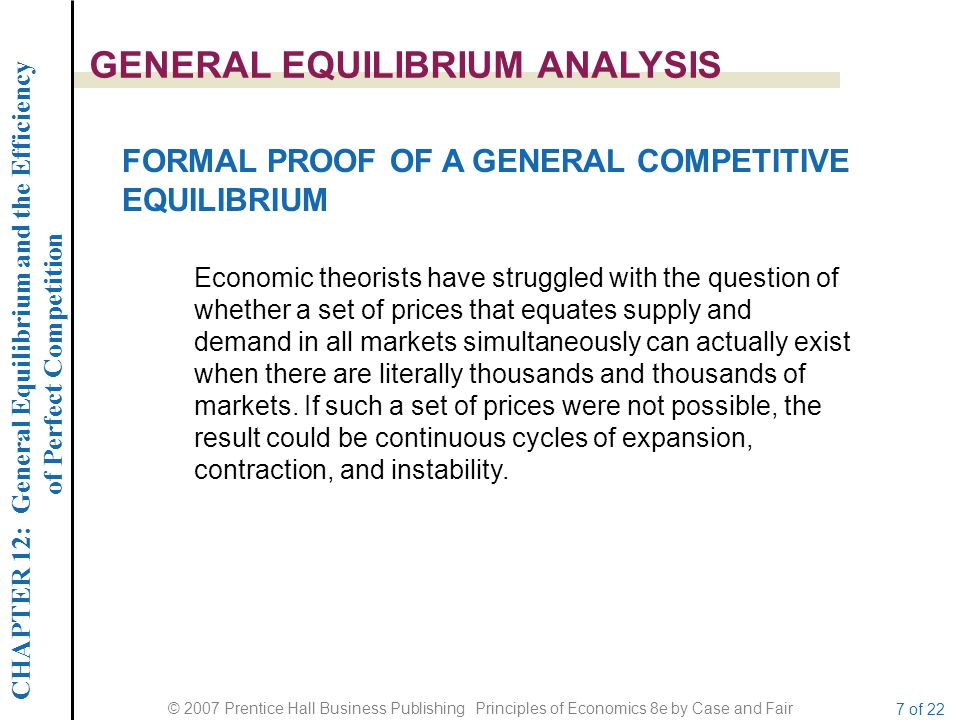 CHAPTER 12: General Equilibrium and the Efficiency of Perfect Competition © 2007 Prentice Hall Business Publishing Principles of Economics 8e by Case and Fair 18 of 22 THE SOURCES OF MARKET FAILURE Private provision of public goods fails.