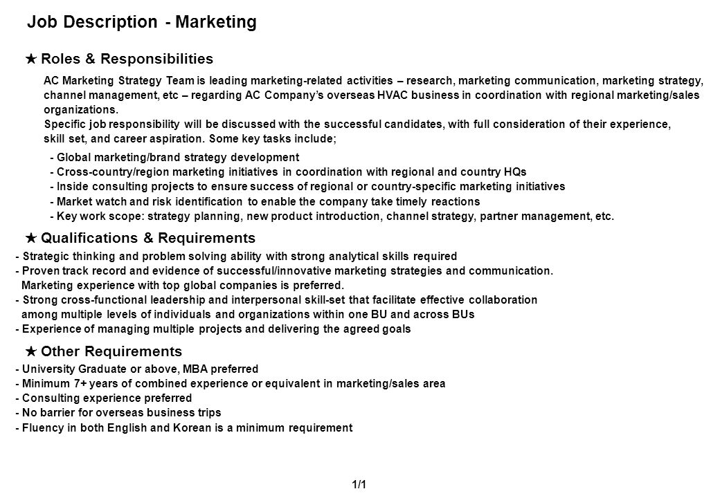 Job Description - Marketing ★ Roles & Responsibilities 1/1 AC Marketing Strategy Team is leading marketing-related activities – research, marketing co
