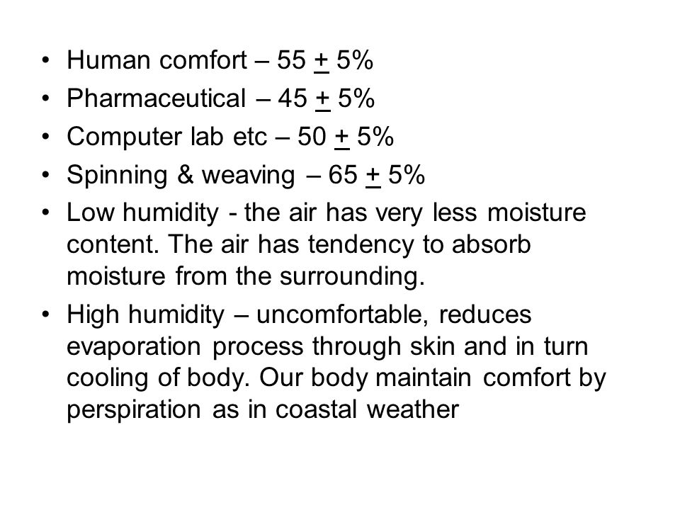 Human comfort – 55 + 5% Pharmaceutical – 45 + 5% Computer lab etc – 50 + 5% Spinning & weaving – 65 + 5% Low humidity - the air has very less moisture content.