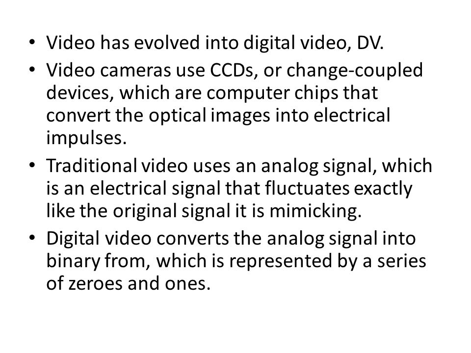 Video has evolved into digital video, DV.