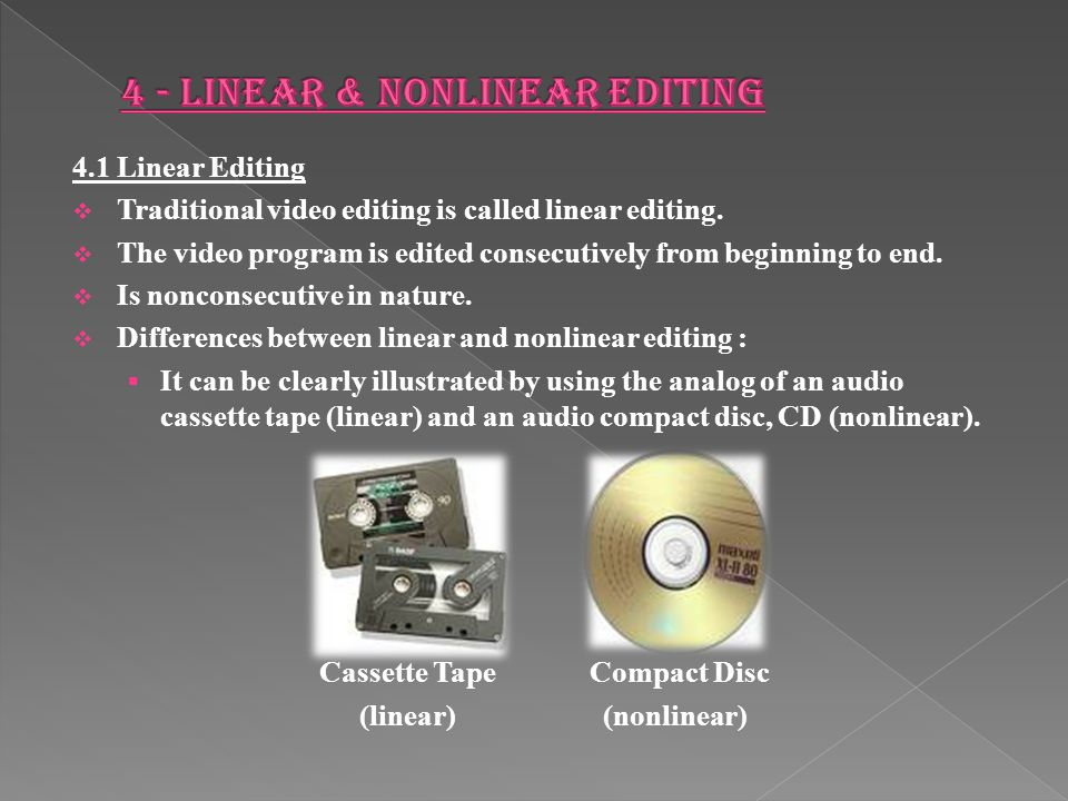 4.1 Linear Editing  Traditional video editing is called linear editing.