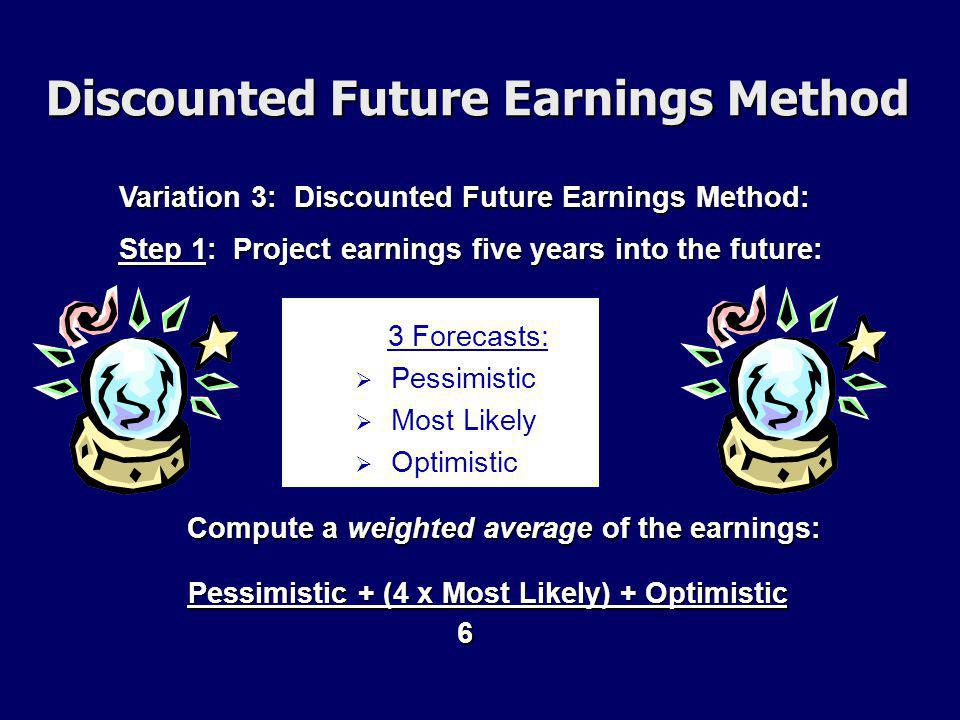 Variation 3: Discounted Future Earnings Method: Compute a weighted average of the earnings: Step 1: Project earnings five years into the future: Pessimistic + (4 x Most Likely) + Optimistic 6 3 Forecasts:   Pessimistic   Most Likely   Optimistic Discounted Future Earnings Method
