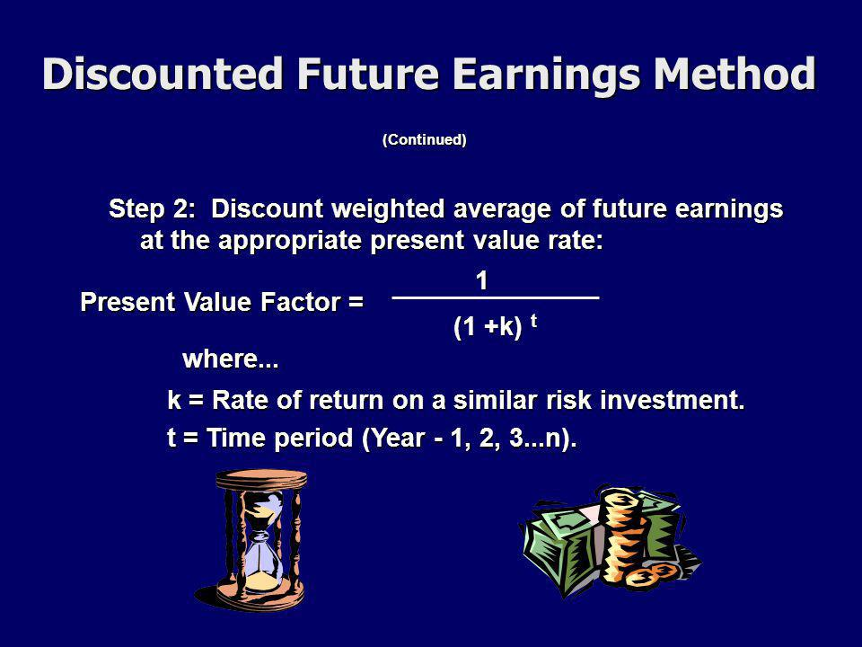 (Continued) Step 2: Discount weighted average of future earnings at the appropriate present value rate: Present Value Factor = 1 (1 +k) t where...