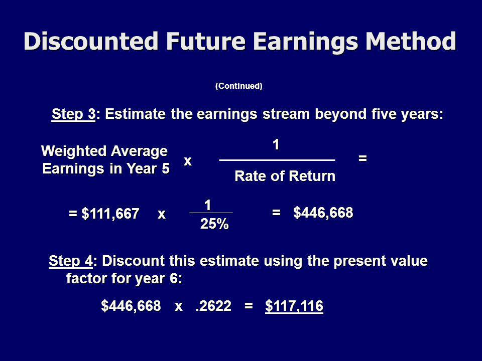(Continued) Step 3: Estimate the earnings stream beyond five years: 1 Rate of Return Weighted Average Earnings in Year 5 Weighted Average Earnings in Year 5 x = = $111,667 x 1 25% = $446,668 Step 4: Discount this estimate using the present value factor for year 6: $446,668 x.2622 = $117,116 Discounted Future Earnings Method