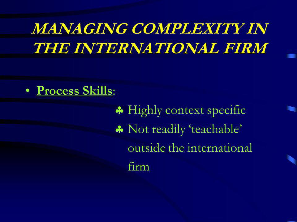MANAGING COMPLEXITY IN THE INTERNATIONAL FIRM Process Skills:  Highly context specific  Not readily 'teachable' outside the international firm