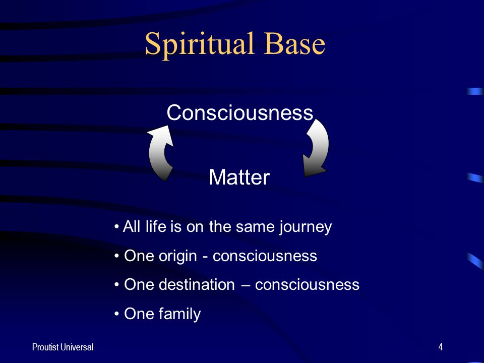 Proutist Universal4 Consciousness Matter Spiritual Base All life is on the same journey One origin - consciousness One destination – consciousness One family