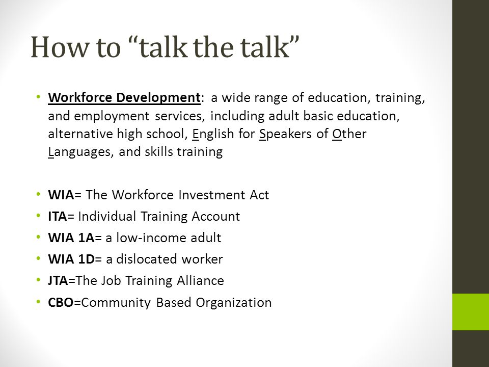 How does a constituent access job training.