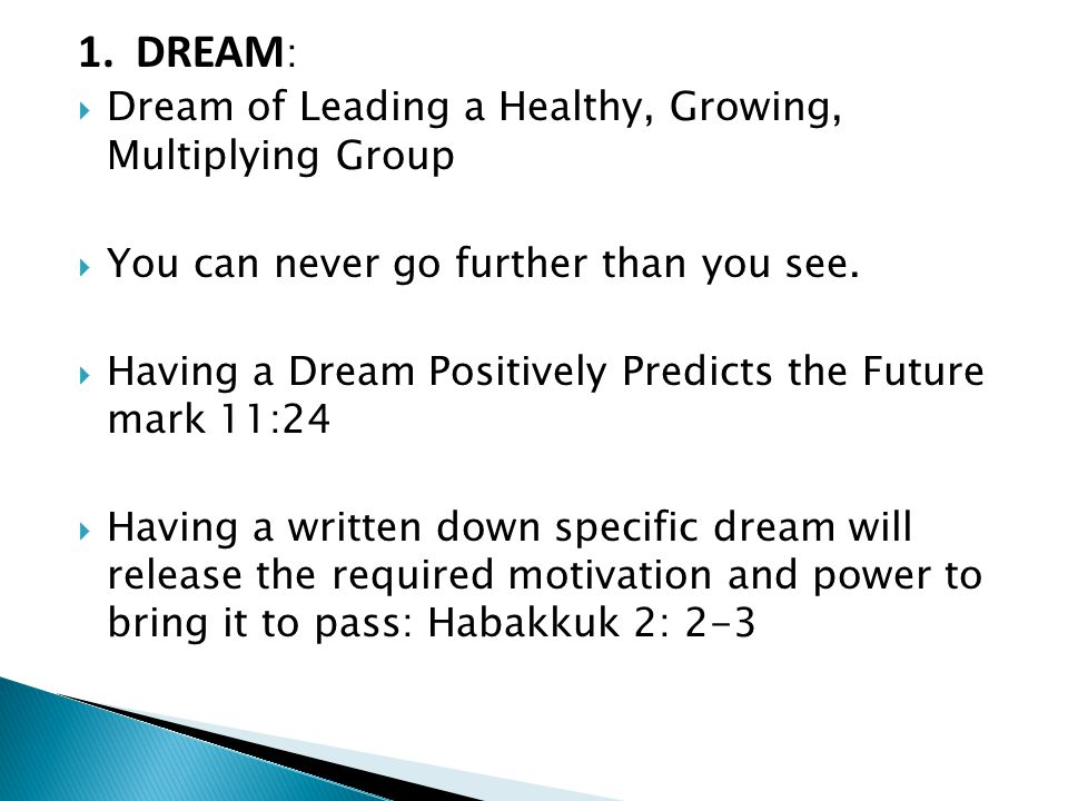 1. DREAM :  Dream of Leading a Healthy, Growing, Multiplying Group  You can never go further than you see.  Having a Dream Positively Predicts the