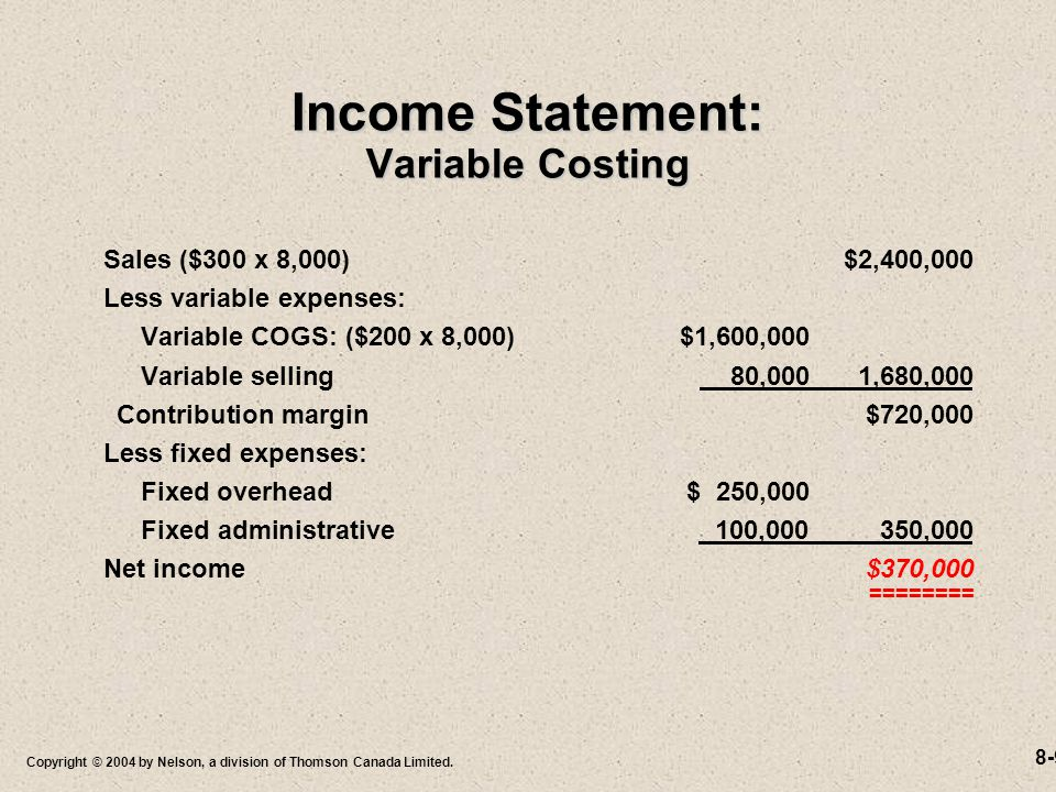 8-9 Copyright © 2004 by Nelson, a division of Thomson Canada Limited. Income Statement: Variable Costing Sales ($300 x 8,000)$2,400,000 Less variable