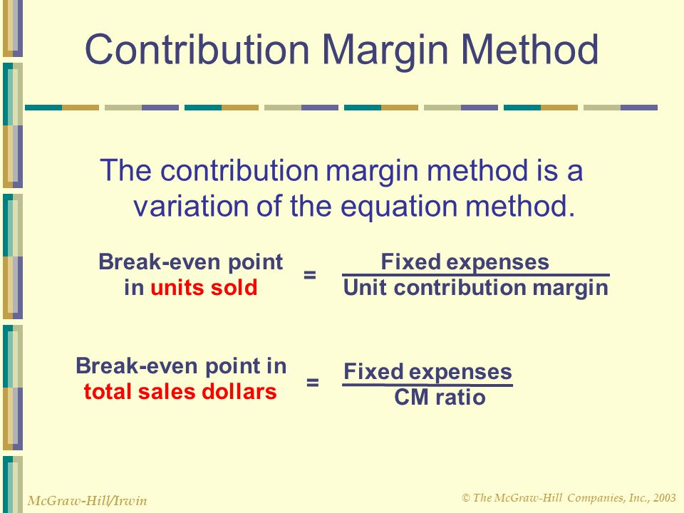 © The McGraw-Hill Companies, Inc., 2003 McGraw-Hill/Irwin Contribution Margin Method The contribution margin method is a variation of the equation met