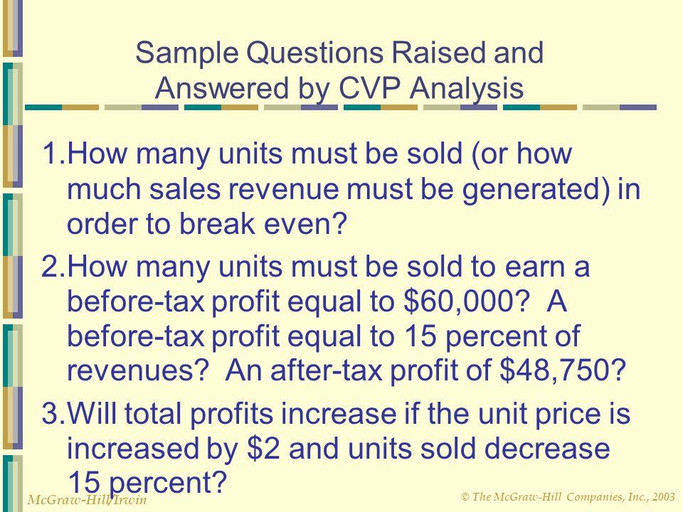 © The McGraw-Hill Companies, Inc., 2003 McGraw-Hill/Irwin Contribution Margin Method The contribution margin method is a variation of the equation method.