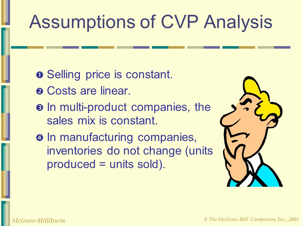 © The McGraw-Hill Companies, Inc., 2003 McGraw-Hill/Irwin Assumptions of CVP Analysis  Selling price is constant.  Costs are linear.  In multi-prod