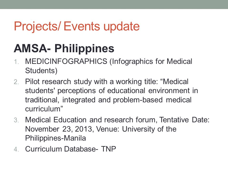 Projects/ Events update AMSA- Philippines 1.