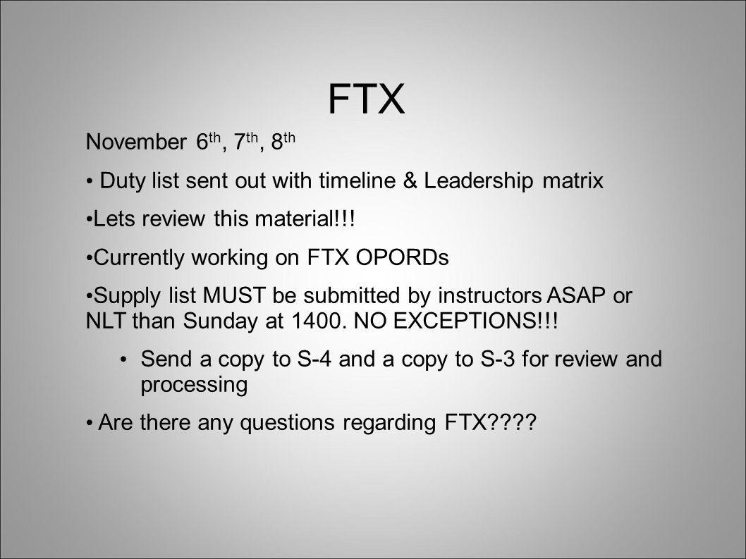 FTX November 6 th, 7 th, 8 th Duty list sent out with timeline & Leadership matrix Lets review this material!!.