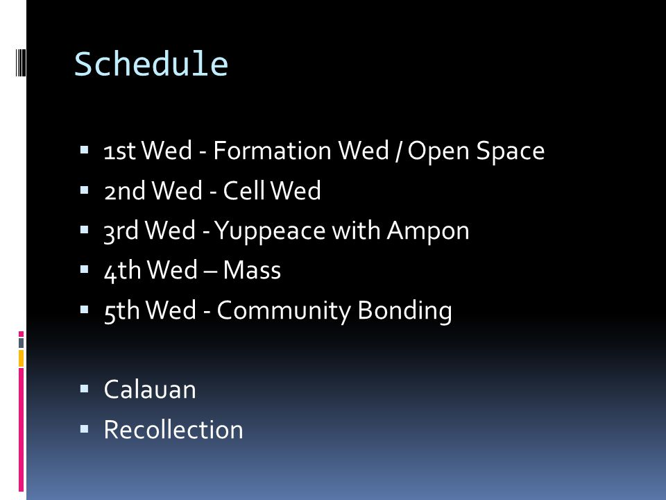 Schedule  1st Wed - Formation Wed / Open Space  2nd Wed - Cell Wed  3rd Wed - Yuppeace with Ampon  4th Wed – Mass  5th Wed - Community Bonding  Calauan  Recollection