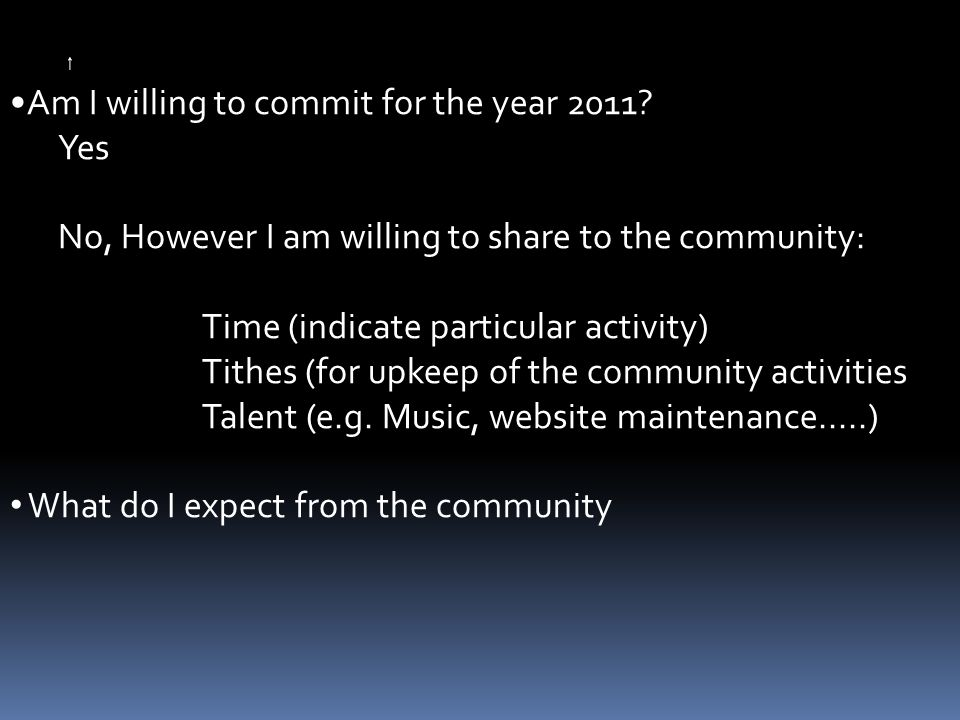 Am I willing to commit for the year 2011.