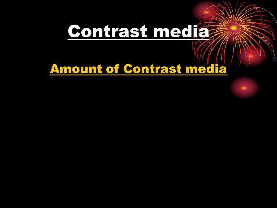 Contrast media Amount of Contrast media