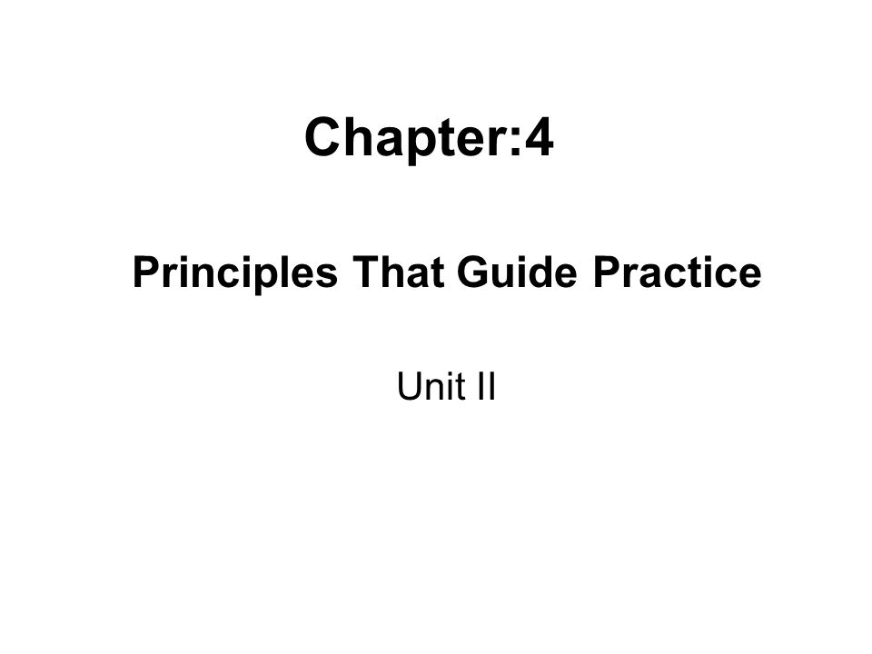 Chapter:4 Principles That Guide Practice Unit II