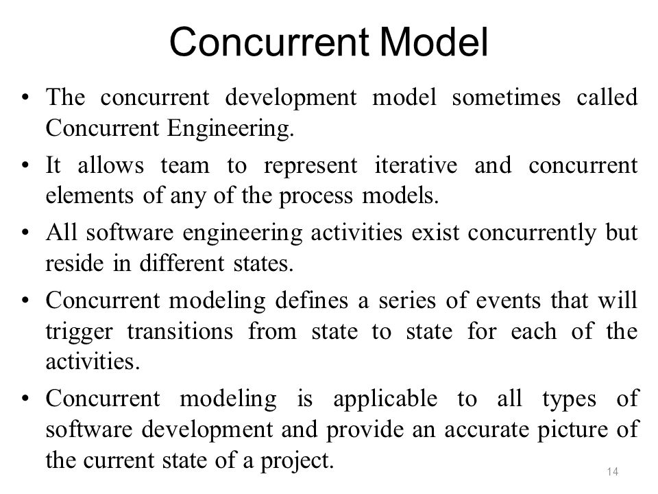 Concurrent Model The concurrent development model sometimes called Concurrent Engineering. It allows team to represent iterative and concurrent elemen