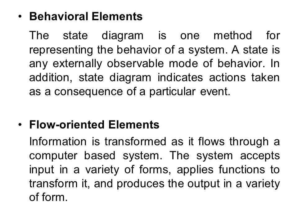 Behavioral Elements The state diagram is one method for representing the behavior of a system.