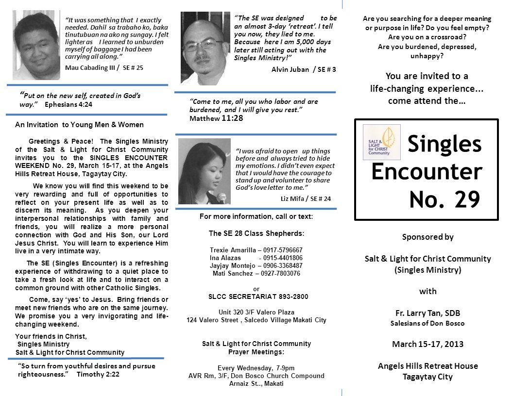 What is a Singles Encounter.