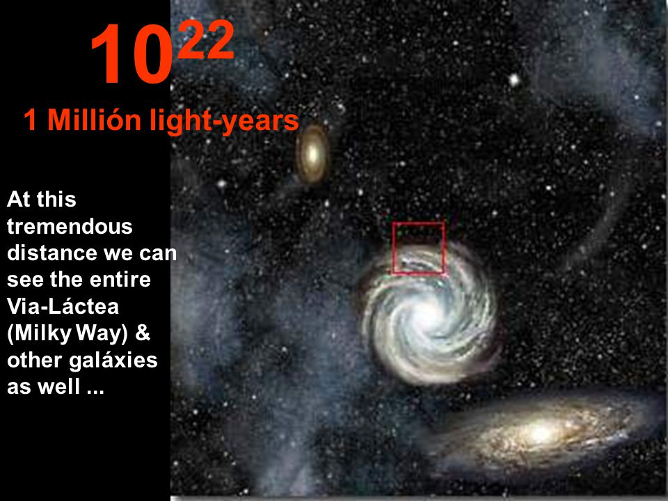 We begin reaching the periphery of the Via-Láctea (Milky Way) 10 21 100,000 light-years