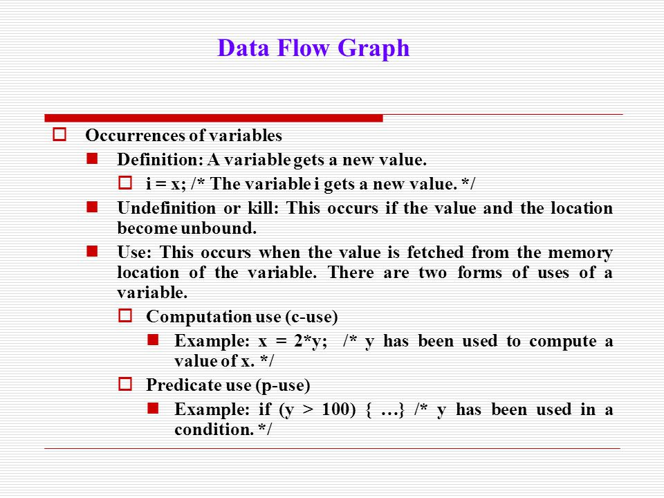  Occurrences of variables Definition: A variable gets a new value.  i = x; /* The variable i gets a new value. */ Undefinition or kill: This occurs