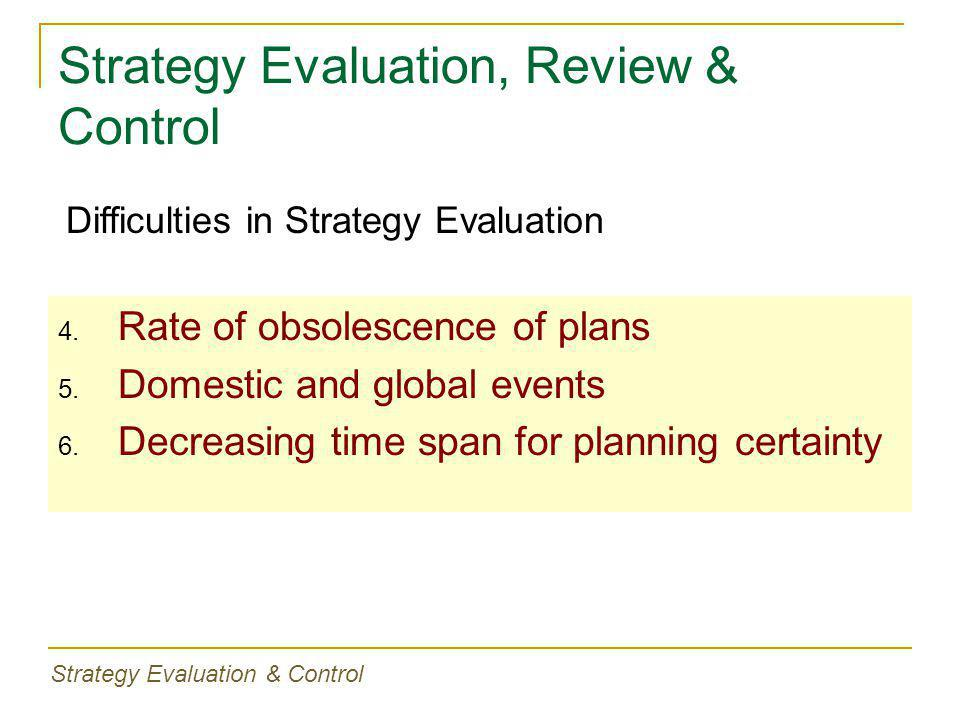 Strategy Evaluation, Review & Control 4. Rate of obsolescence of plans 5. Domestic and global events 6. Decreasing time span for planning certainty Di
