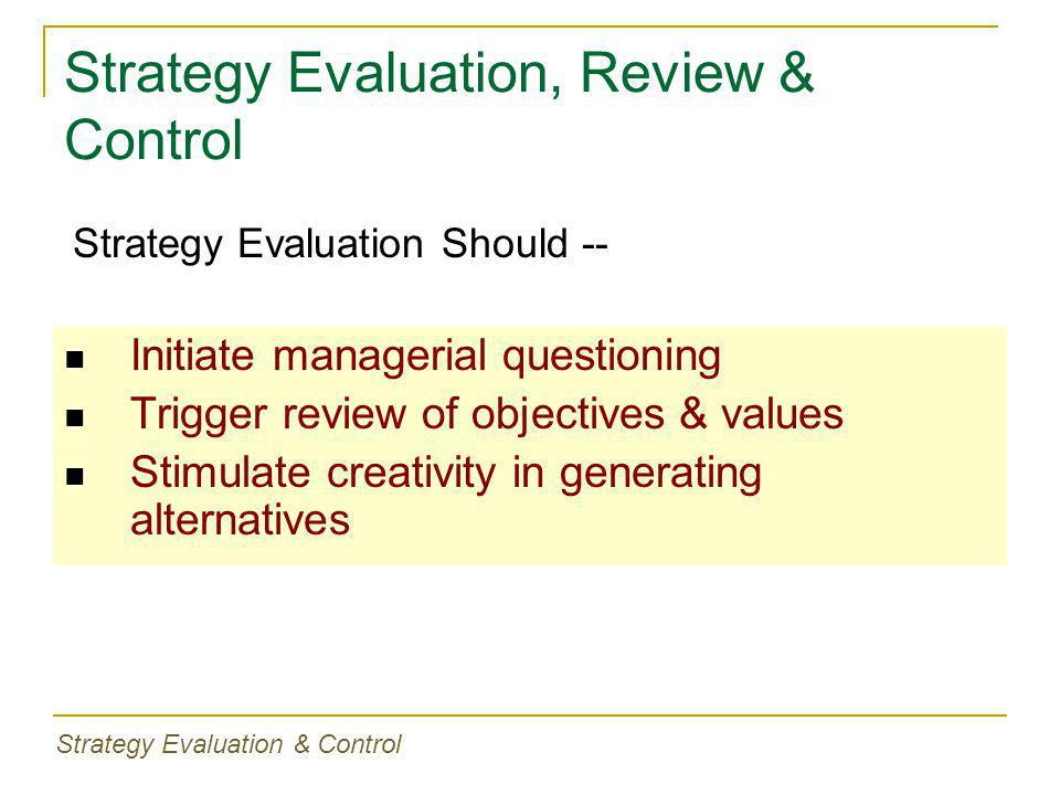 Strategy Evaluation, Review & Control Initiate managerial questioning Trigger review of objectives & values Stimulate creativity in generating alternatives Strategy Evaluation Should -- Strategy Evaluation & Control