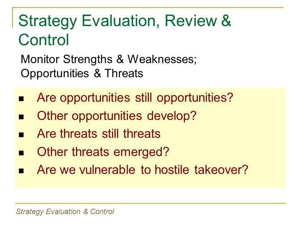 Strategy Evaluation, Review & Control Are opportunities still opportunities.