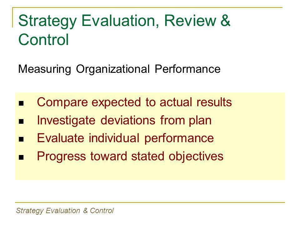 Strategy Evaluation, Review & Control Compare expected to actual results Investigate deviations from plan Evaluate individual performance Progress toward stated objectives Measuring Organizational Performance Strategy Evaluation & Control