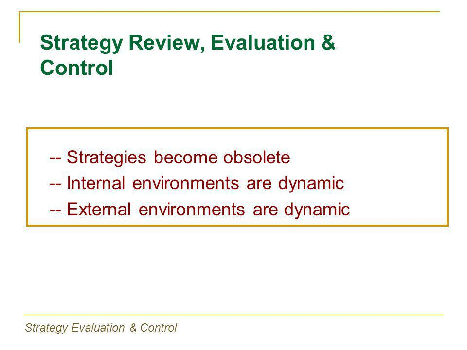 -- Strategies become obsolete -- Internal environments are dynamic -- External environments are dynamic Strategy Review, Evaluation & Control Strategy Evaluation & Control