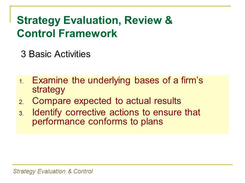 1. Examine the underlying bases of a firm's strategy 2.