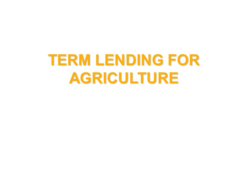 TERM LENDING FOR AGRICULTURE