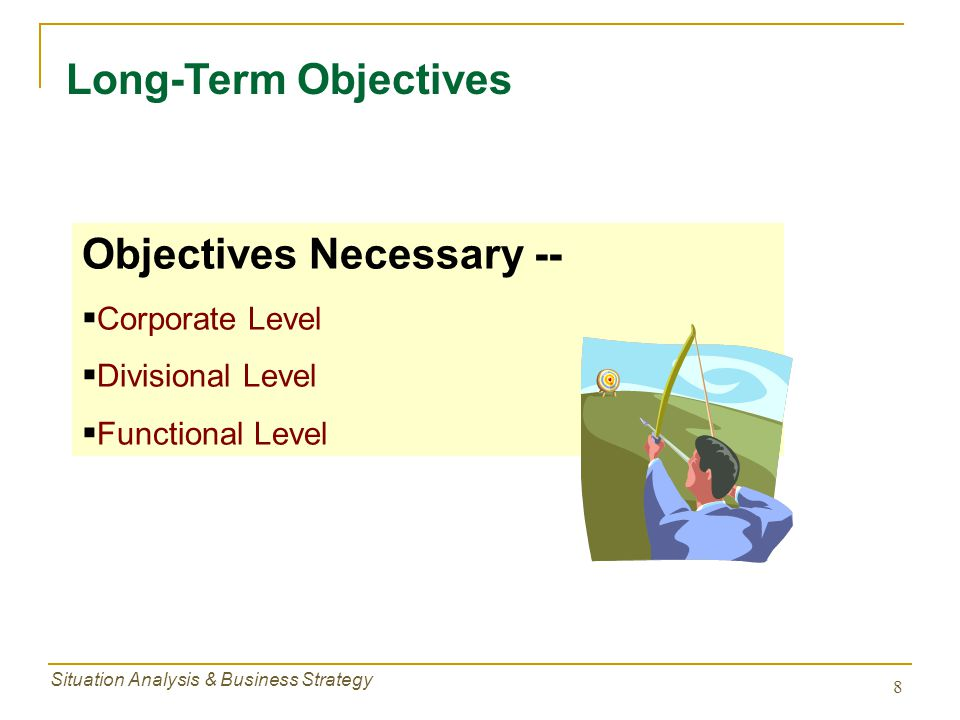 Situation Analysis & Business Strategy 8 Long-Term Objectives Objectives Necessary --  Corporate Level  Divisional Level  Functional Level