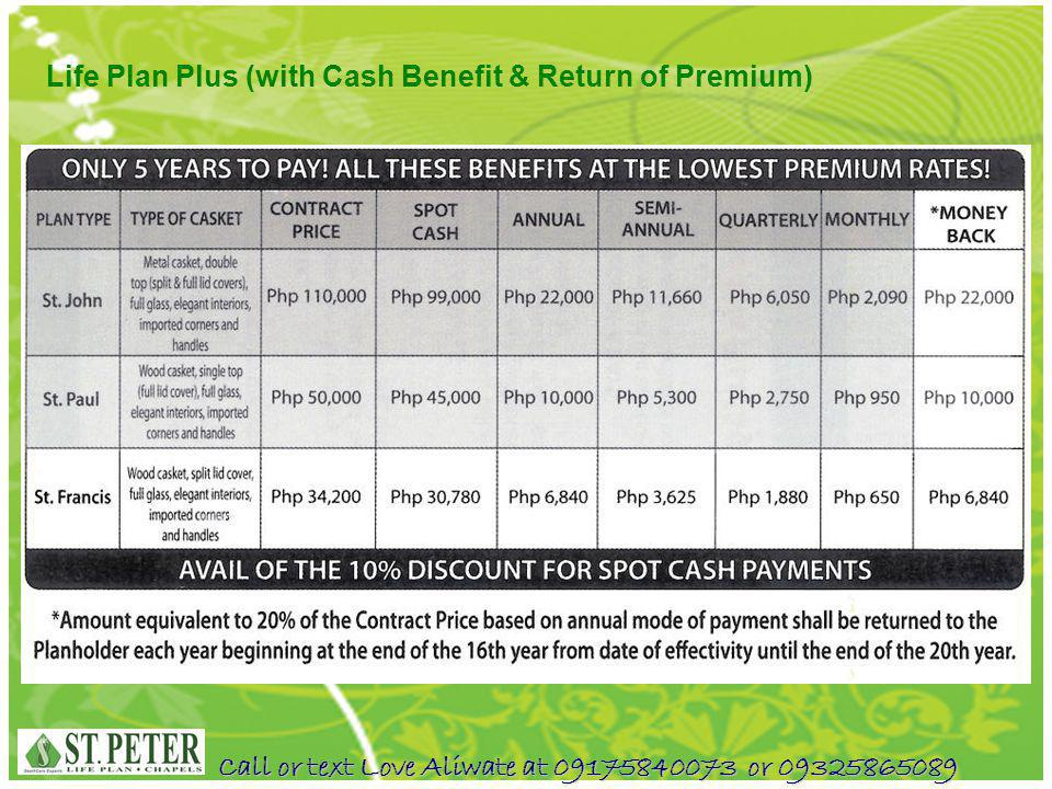 Call or text Love Aliwate at 09175840073 or 09325865089 Life Plan Plus (with Cash Benefit & Return of Premium)