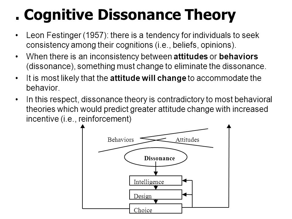Cognitive Dissonance Theory Leon Festinger (1957): there is a tendency for individuals to seek consistency among their cognitions (i.e., beliefs, opinions).