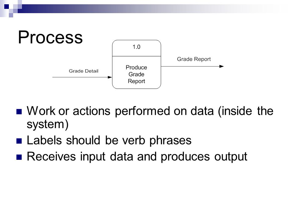 Process Work or actions performed on data (inside the system) Labels should be verb phrases Receives input data and produces output