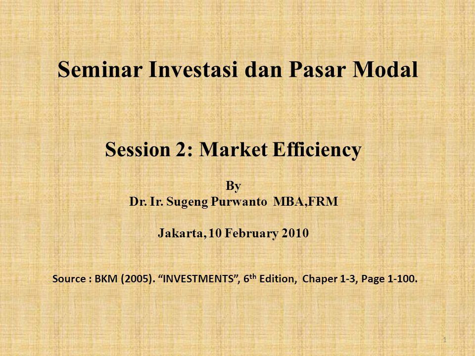 Seminar Investasi dan Pasar Modal Session 2: Market Efficiency By Dr.